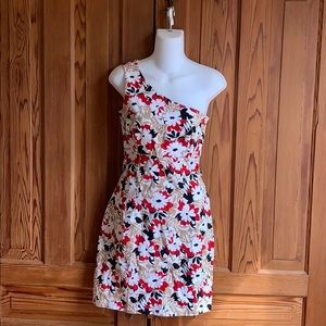 Vintage Floral One Shoulder Dress